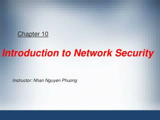 Chapter 10 Introduction to Network Security