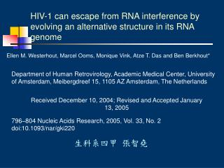 HIV-1 can escape from RNA interference by evolving an alternative structure in its RNA genome