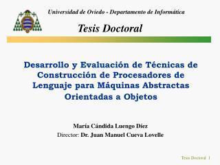 María Cándida Luengo Díez Director:  Dr. Juan Manuel Cueva Lovelle