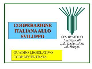 COOPERAZIONE ITALIANA ALLO SVILUPPO