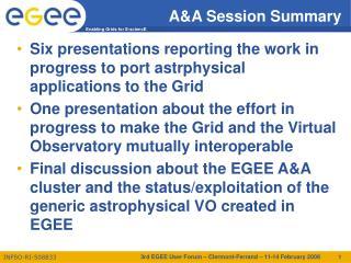 A&A Session Summary