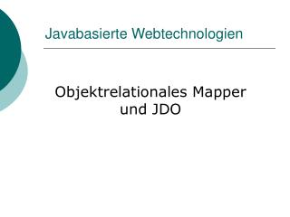 Javabasierte Webtechnologien