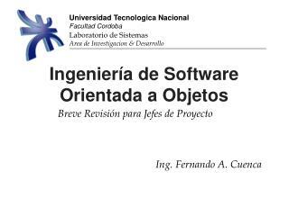 Ingeniería de Software Orientada a Objetos
