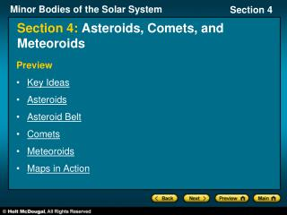 Section 4:  Asteroids, Comets, and Meteoroids