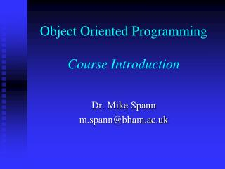 Object Oriented Programming Course Introduction