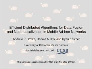 Efficient Distributed Algorithms for Data Fusion and Node Localization in Mobile Ad-hoc Networks