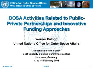 OOSA Activities Related to Public-Private Partnerships and Innovative Funding Approaches