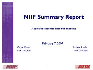 NIIF Summary Report Activities since the NIIF #56 meeting