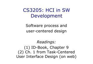 CS3205 : HCI in SW Development