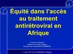 quit  dans l acc s au traitement antir troviral en Afrique
