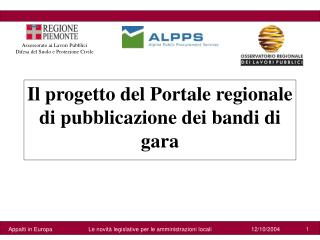 Il progetto del Portale regionale di pubblicazione dei bandi di gara