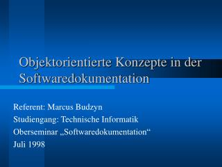 Objektorientierte Konzepte in der  Softwaredokumentation