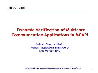 Dynamic Verification of Multicore Communication Applications in MCAPI Subodh Sharma, UofU