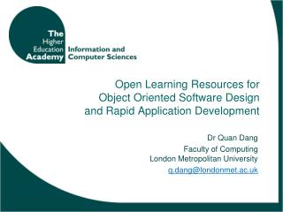 Open Learning Resources for Object Oriented Software Design and Rapid Application Development