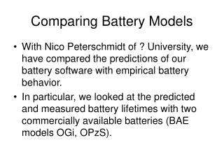 Comparing Battery Models