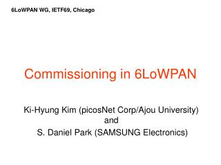 Commissioning in 6LoWPAN