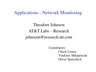 Applications : Network Monitoring