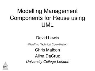 Modelling Management Components for Reuse using UML