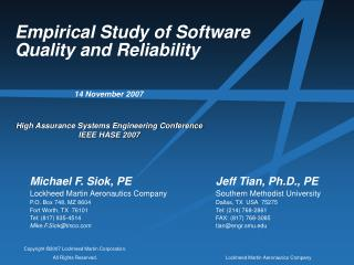 Empirical Study of Software Quality and Reliability