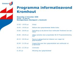 Programma informatieavond Kromhout