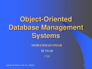 Object-Oriented Database Management Systems