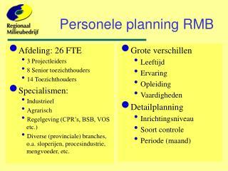 Personele planning RMB