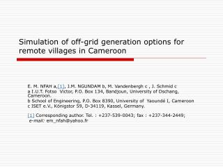 Simulation of off-grid generation options for remote villages in Cameroon