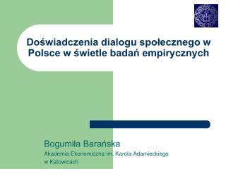 Doświadczenia dialogu społecznego w Polsce w świetle badań empirycznych