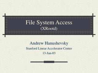 File System Access (XRootd)