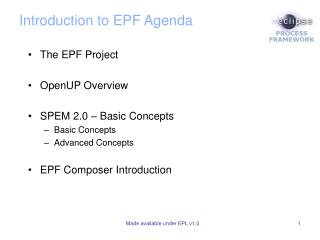 Introduction to EPF Agenda