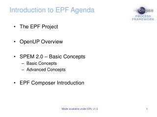 Introduction to EPF Agenda