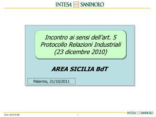 Incontro ai sensi dell'art. 5  Protocollo Relazioni Industriali  (23 dicembre 2010)