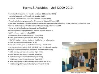 Events & Activities –  UoB  (2009-2010)
