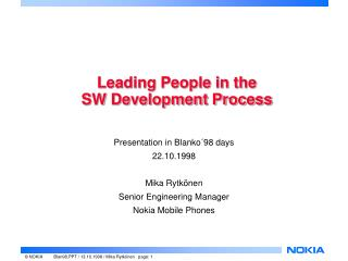 Leading People in the  SW Development Process