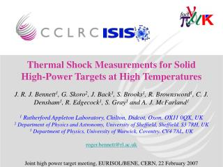 Thermal Shock Measurements for Solid High-Power Targets at High Temperatures