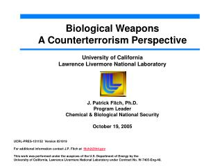 Biological Weapons A Counterterrorism Perspective