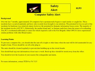 Computer Safety Alert Background