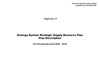 Entergy System Strategic Supply Resource Plan Plan Description