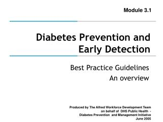 Diabetes Prevention and Early Detection