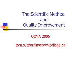 The Scientific Method  and  Quality Improvement