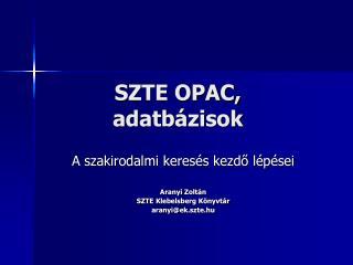 SZTE OPAC, adatbázisok