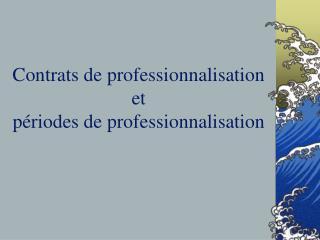 Contrats de professionnalisation et  périodes de professionnalisation