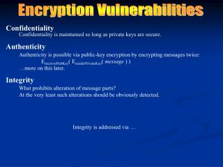 Encryption Vulnerabilities