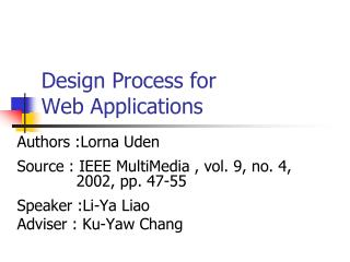 Design Process for  Web Applications