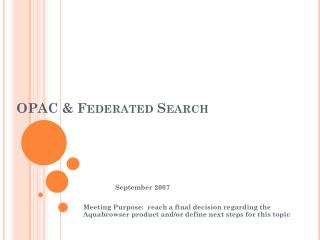 OPAC & Federated Search