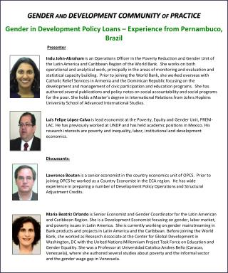 Gender in Development Policy Loans – Experience from  Pernambuco , Brazil