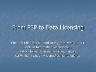 From P3P to Data Licensing