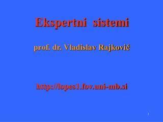 Ekspertni  sistemi prof. dr. Vladislav Rajkovič lopes1.fov.uni-mb.si