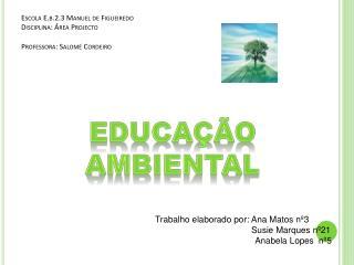 Escola E.b.2.3 Manuel de Figueiredo Disciplina: Área Projecto Professora: Salomé Cordeiro