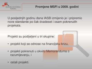 Promjene MSFI u 2009. godini